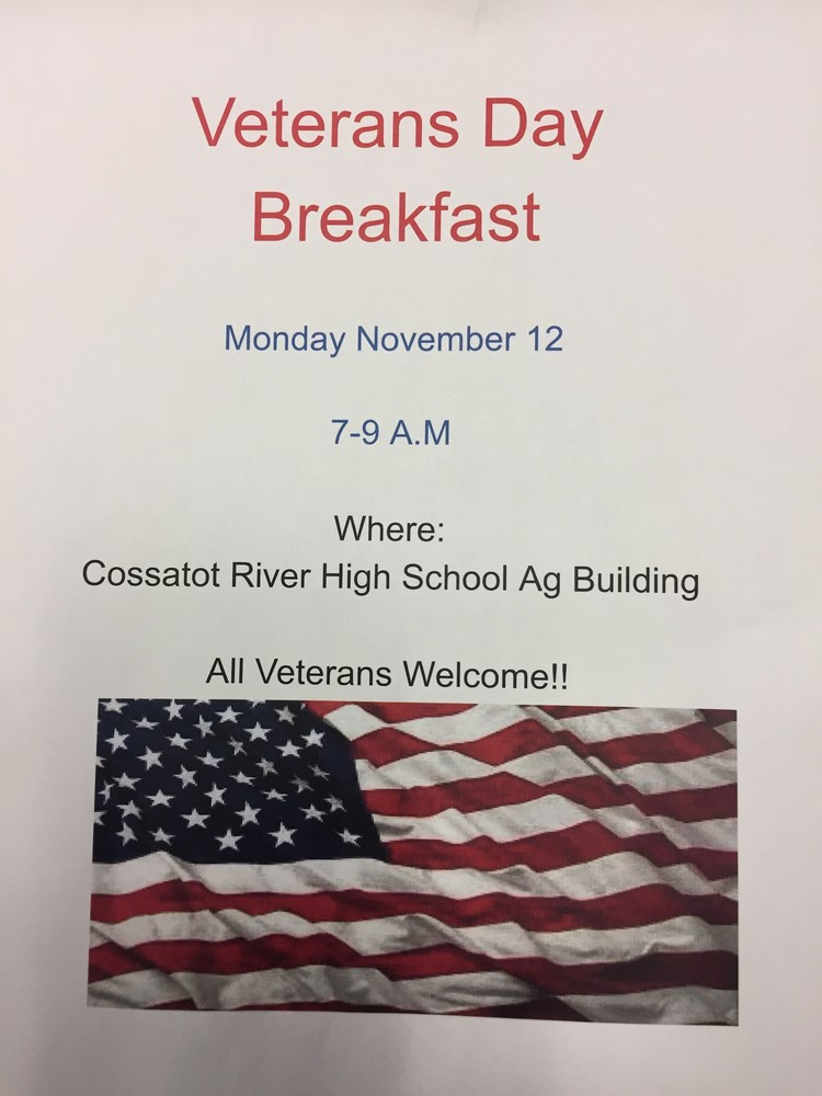 Cossatot River FFA Veterans Day Breakfast