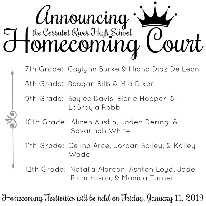 Homecoming Court January 2019