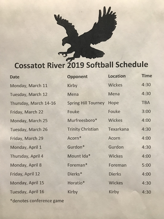 2019 Softball Schedule