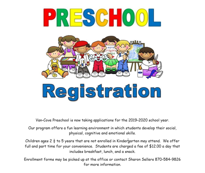 Preschool registration announcement 19-20