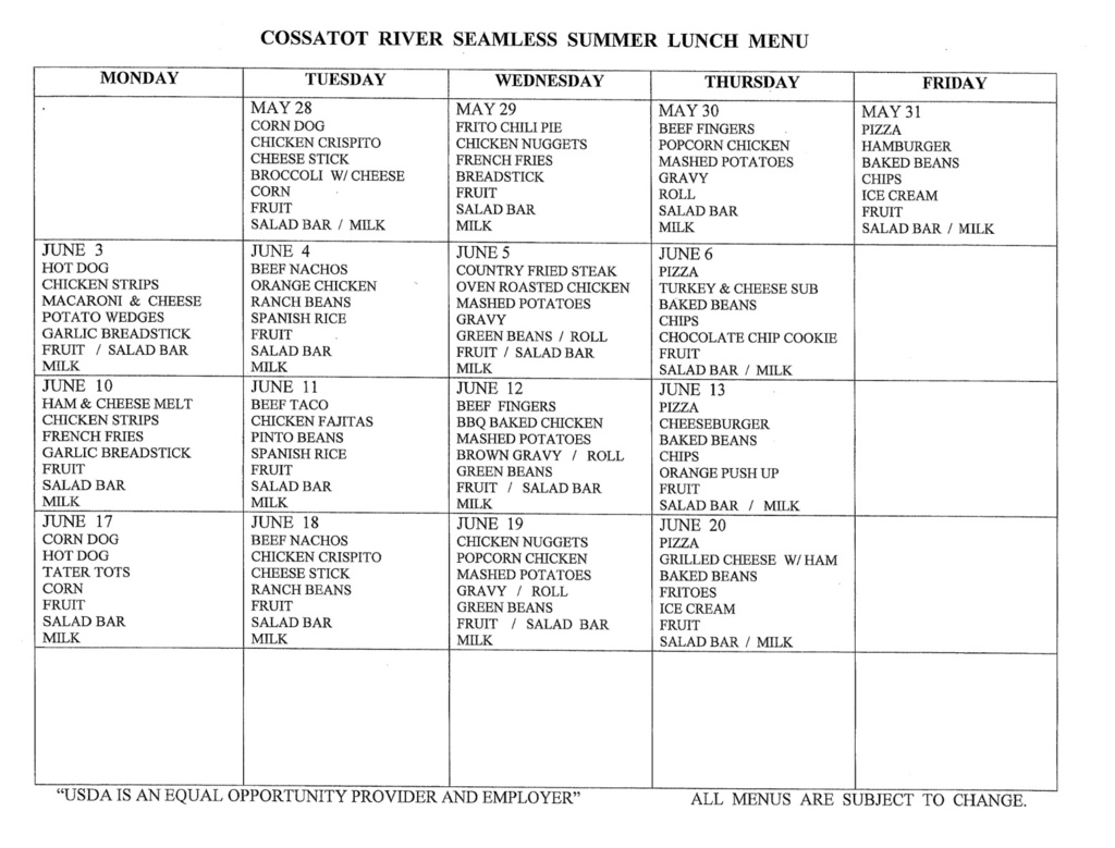 Summer Breakfast and Lunch Menu