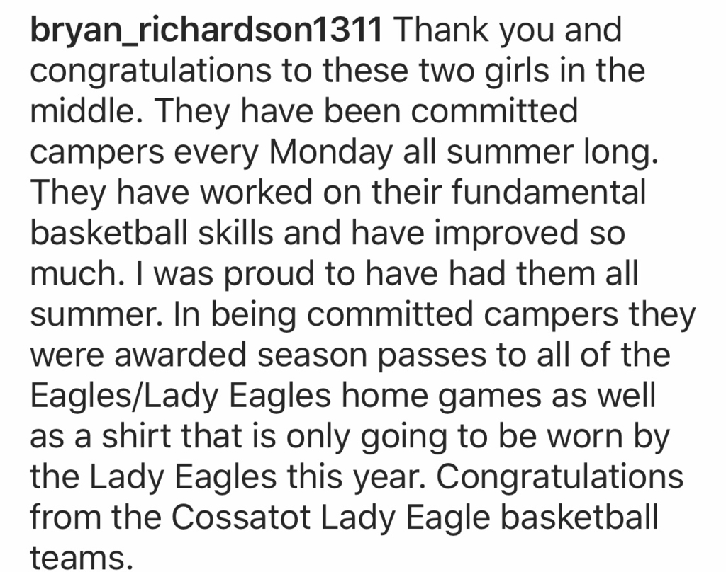 From Coach Richardson