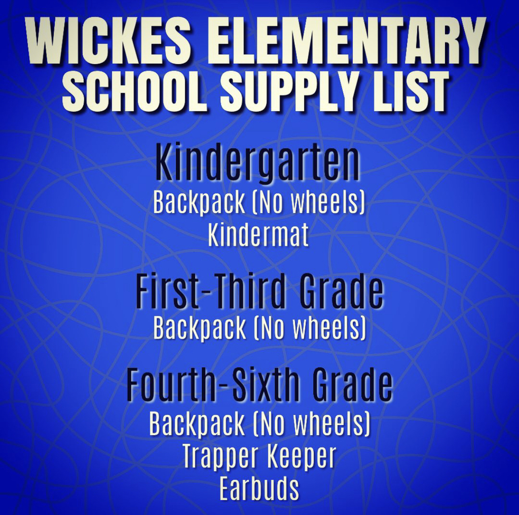 Wickes Elementary School Supply List